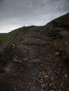 These are heavily eroded boulder steps covered in sheep poo, NCN 6, Woodhead.