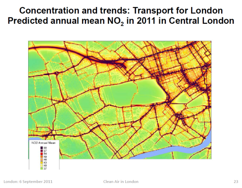 Map NO2 Pollution from traffic around Marylebone and Westminster