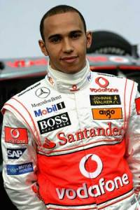 Lewis Hamilton models the latest fashionable motoring wear